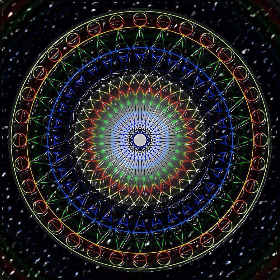 Kaleidoscope Digital Art - Glow Of The Ferris Wheel by Mario Carini