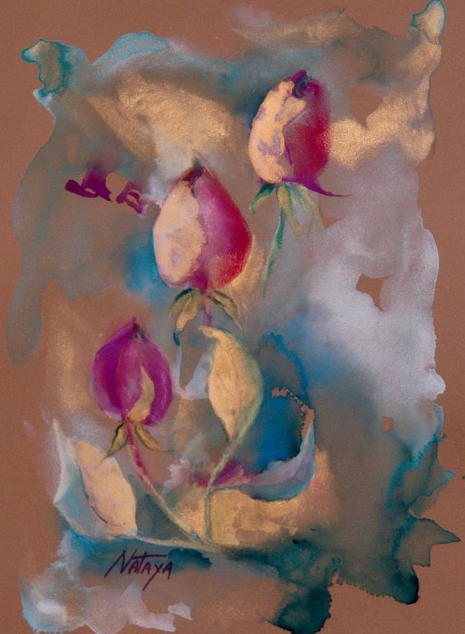 Nature Painting - Glowing Buds by Nataya Crow