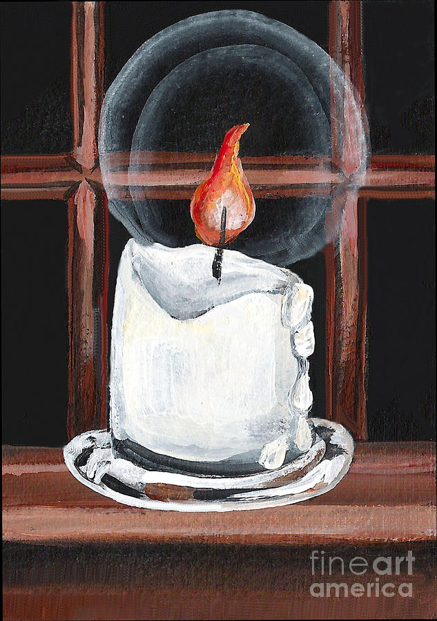 Candle Painting - Glowing Candle In Window by Elaine Hodges