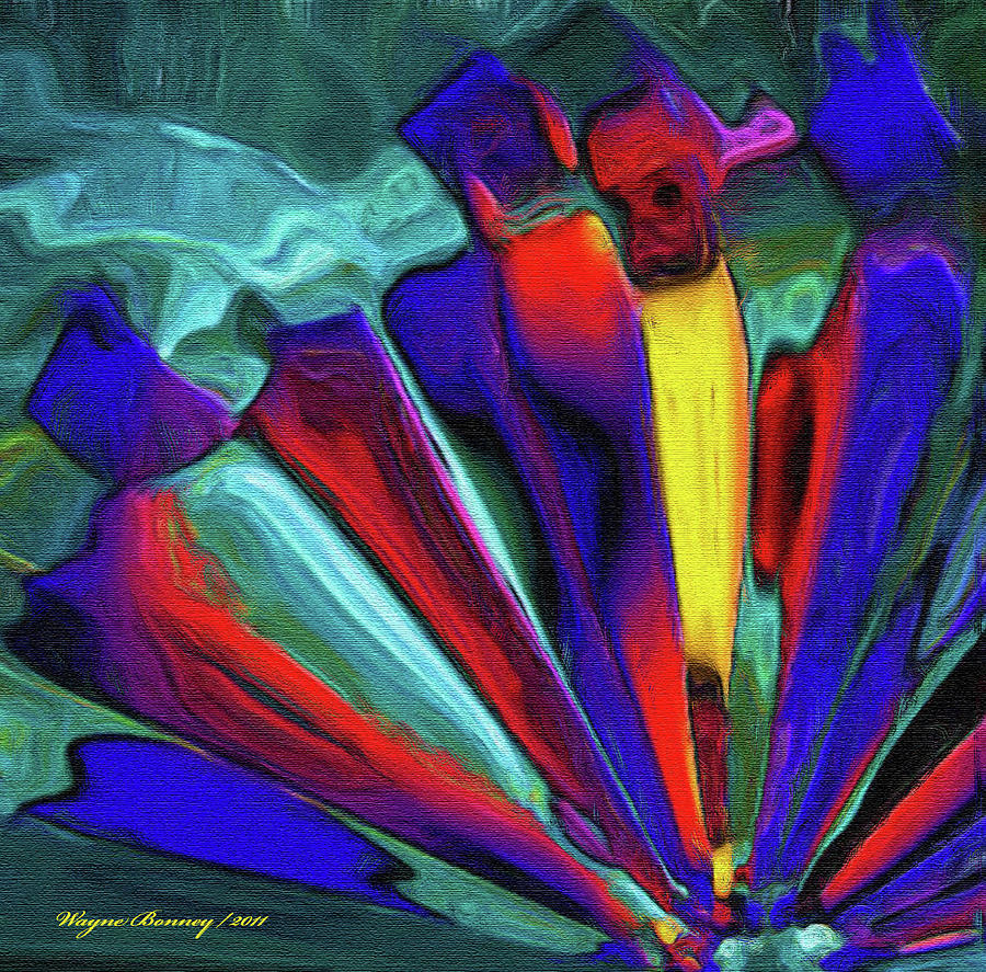 Blue Painting - Glowing Chrystals by Wayne Bonney