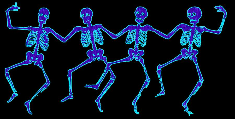 Skeletons Digital Art - Glowing Dancing Skeletons by Jennifer Hotai