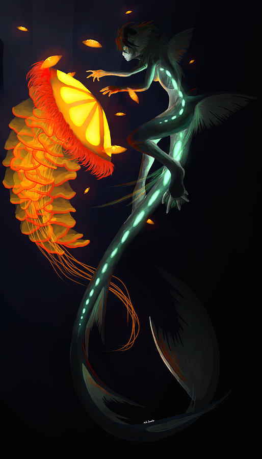 Water Painting - Glowing Depths by Nicki Lagaly