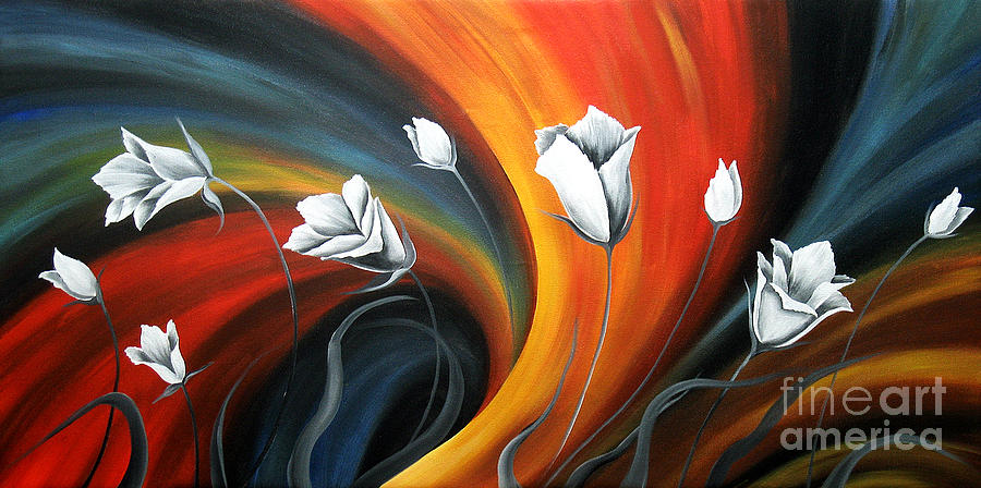 Floral Canvas Paintings Painting - Glowing Flowers 5 by Uma Devi