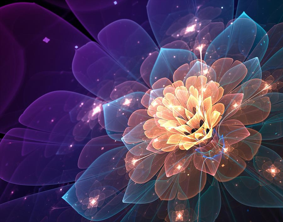 Glowing Fractal Flower Digital Art By Lilia D