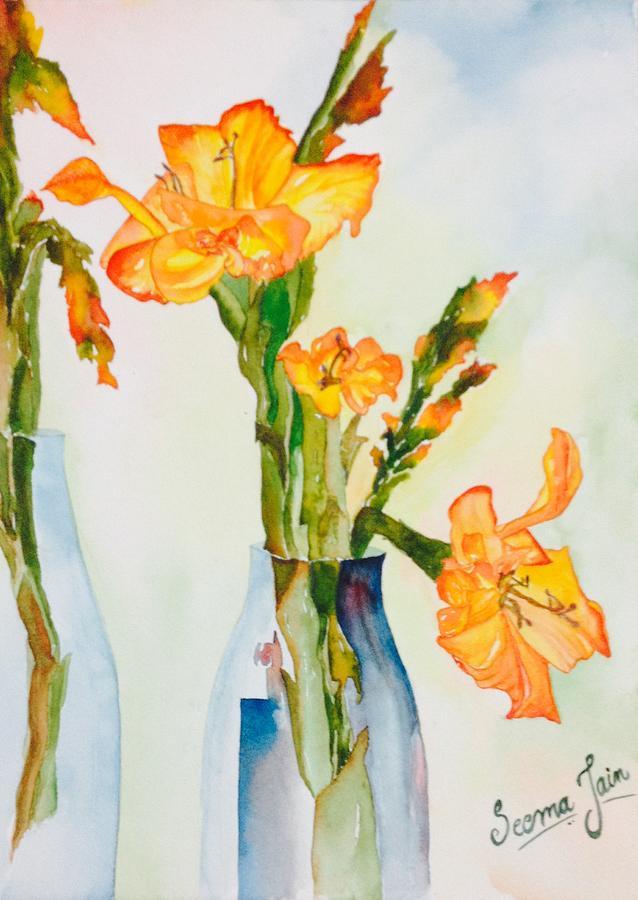 Glowing Gladiolus Painting By Seema Jain