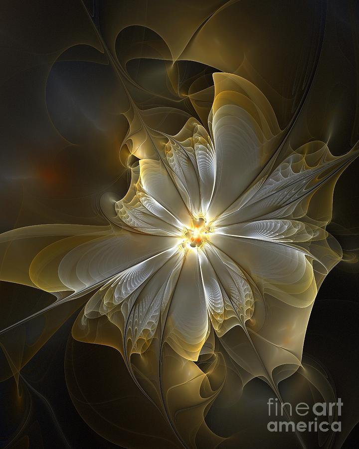 Fractal Digital Art - Glowing In Silver And Gold by Amanda Moore