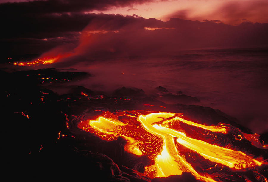 Active Photograph - Glowing Lava Flow by Peter French - Printscapes