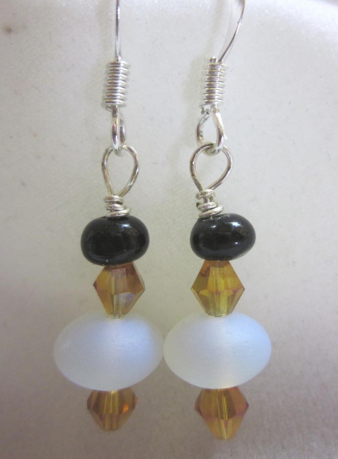 Glass Beads Jewelry - Glowing Moons And Amber Earrings by Janet  Telander