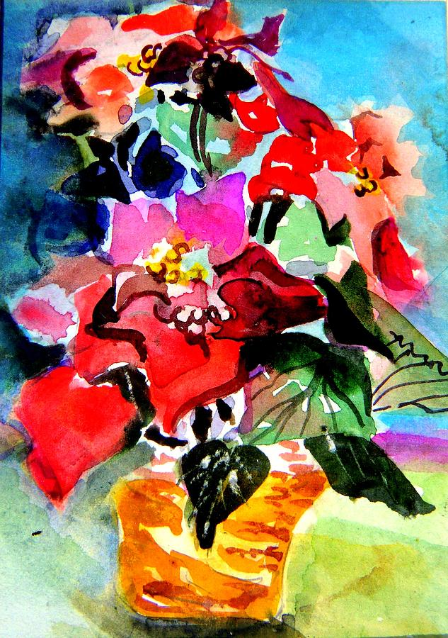 Christmas Painting - Glowing Poinsettias by Mindy Newman