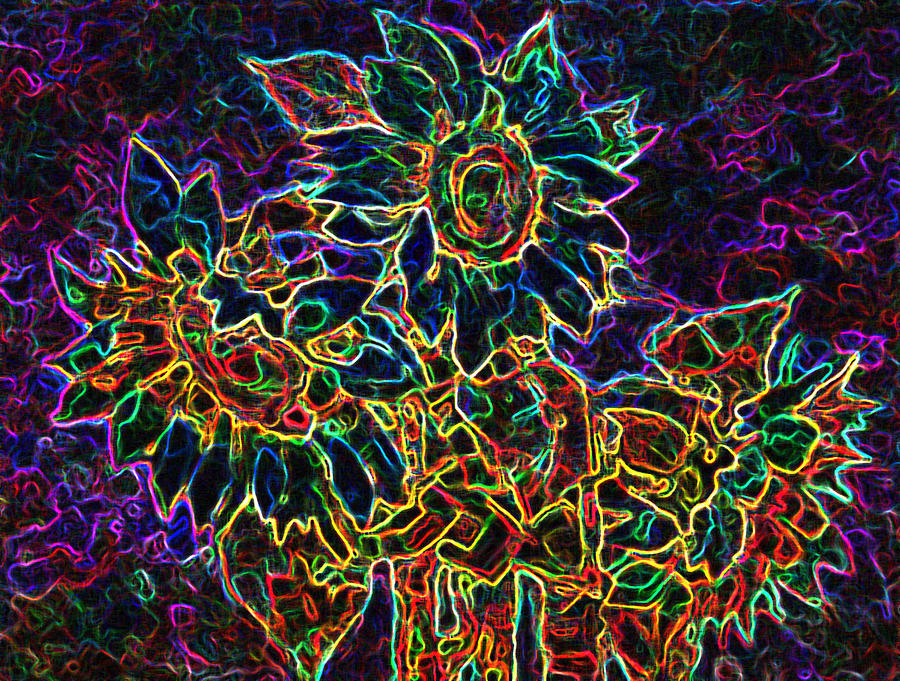 Sunflowers Digital Art - Glowing Sunflowers by Iliyan Bozhanov