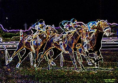 Horse Racing Digital Art - Glowing Trio by Gary Rogers