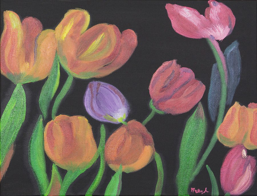 Tulips Painting - Glowing Tulips by Meryl Goudey