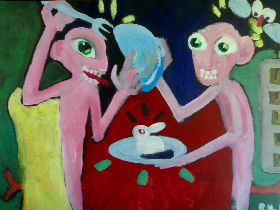 Figure Painting - Gluttons by Romana Hrncirova