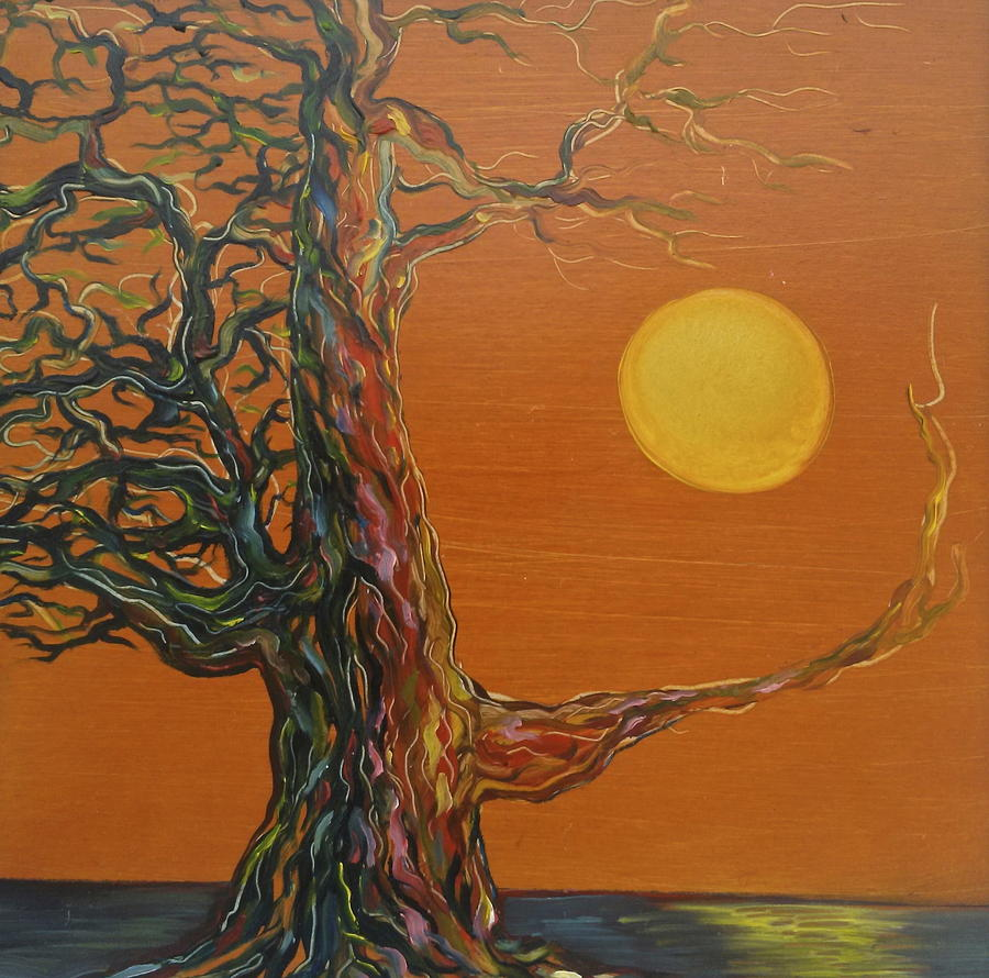 Sunset Painting - Gnarly Tree by the Sea by Karen Doyle