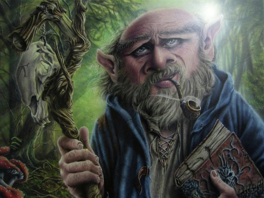 Fantasy Painting - Gnome Wizard by Robert Haasdijk