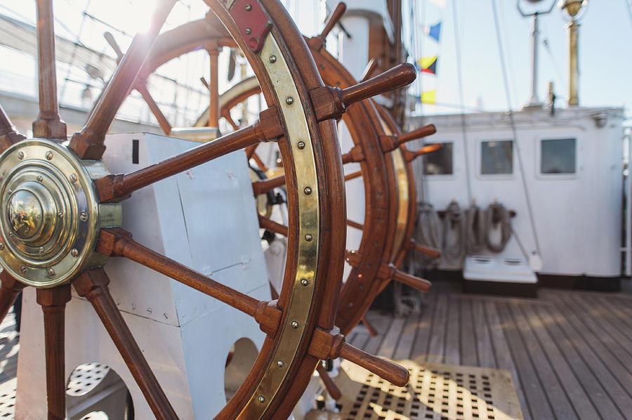 Ship Photograph -  Steering Wheel Of Big Sailing Ship by Maksym Kaharlytskyi