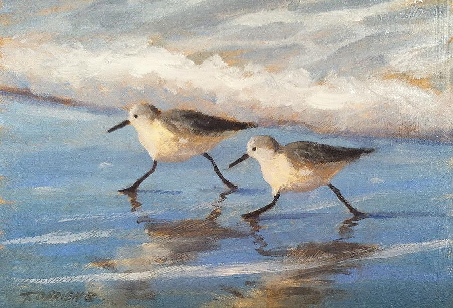 Cottage Painting - Go Sandpipers by Tina Obrien