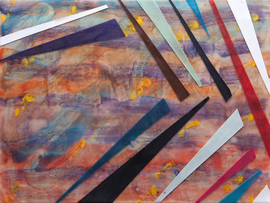 Encaustic Wax Mixed Media - Go With The Flow by Nell Werner