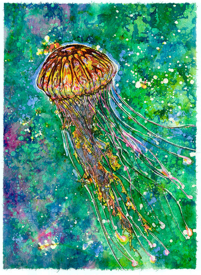 Jellyfish Painting - Go With The Flow by Nick Cantrell