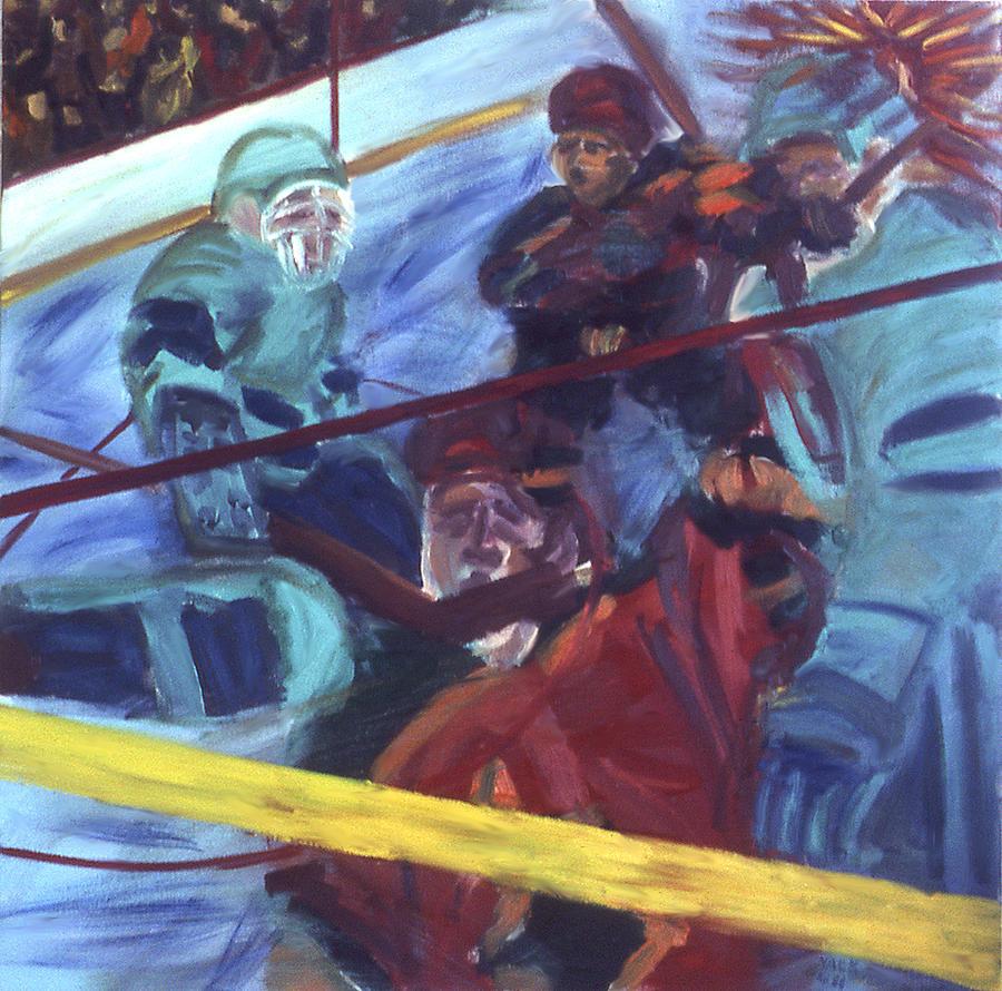 Hockey Painting - Goal by Ken Yackel