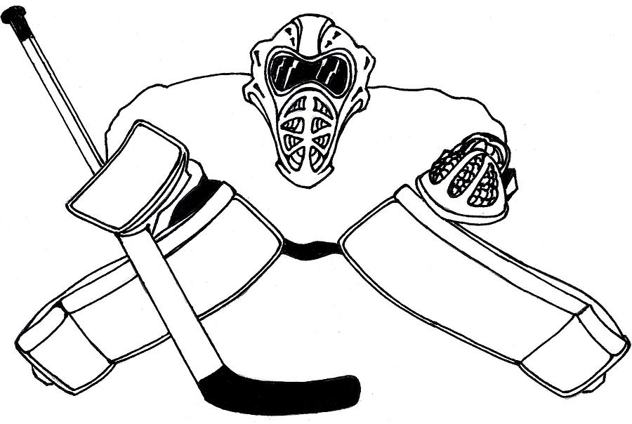 Goalie Equipment Drawing By Hockey Goalie