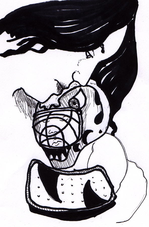 Ink Drawing - Goalie Mom by Todd  Peterson