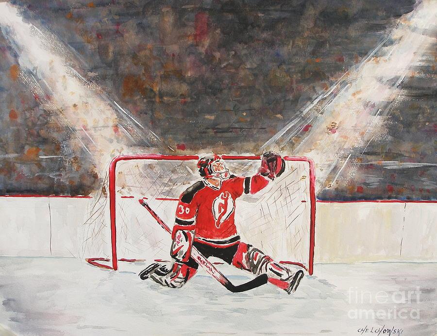 Hockey Nj Devils Martin Brodeur Nhl Goalkeeper Painting - Goalkeeper by Miroslaw  Chelchowski