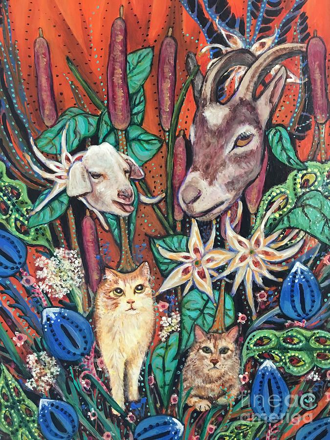 Goat Weed and Cat Tails by Linda Markwardt