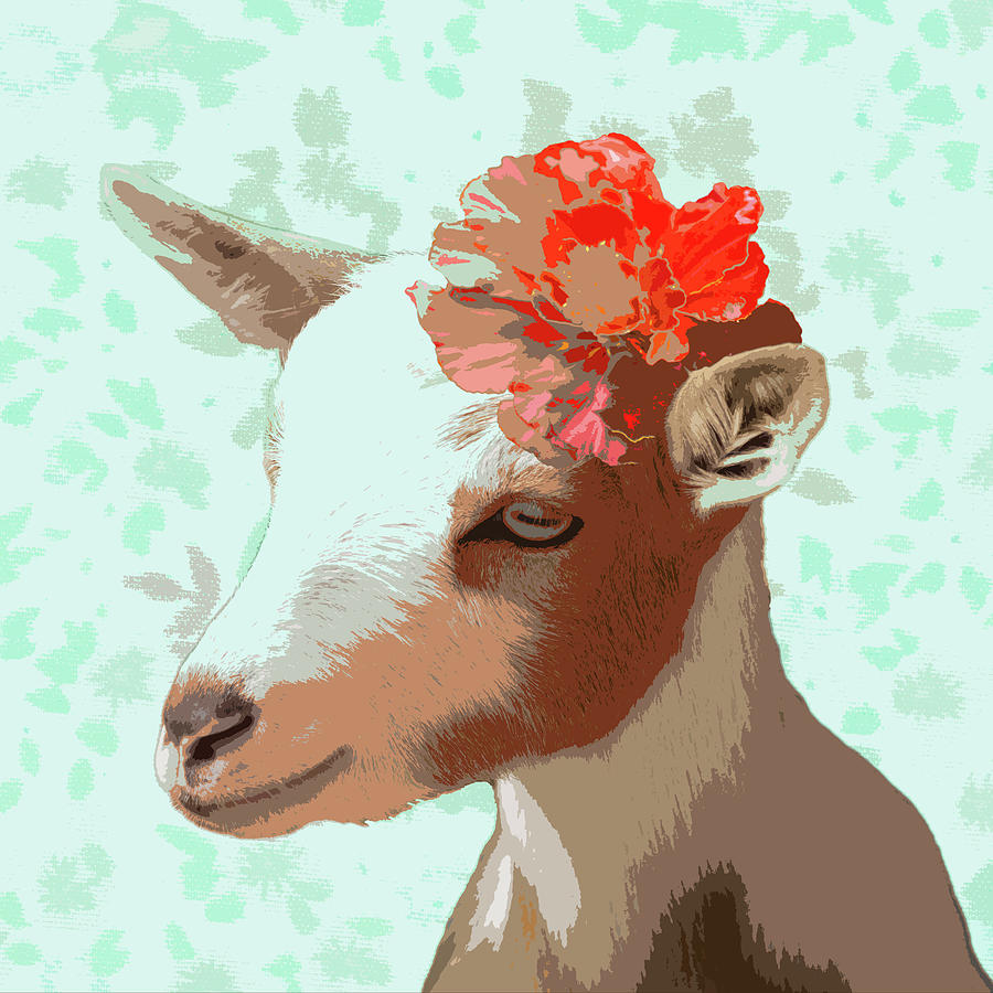 Goats Photograph - Goat With Flower by Susan Newcomb