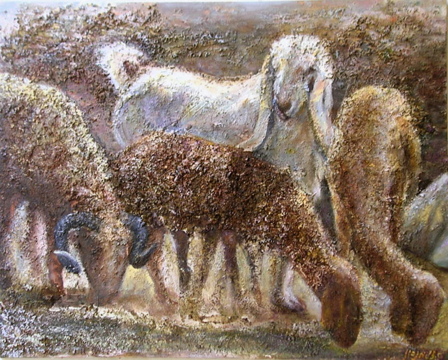 Farm Painting - Goat With Sheep by Sylva Zalmanson