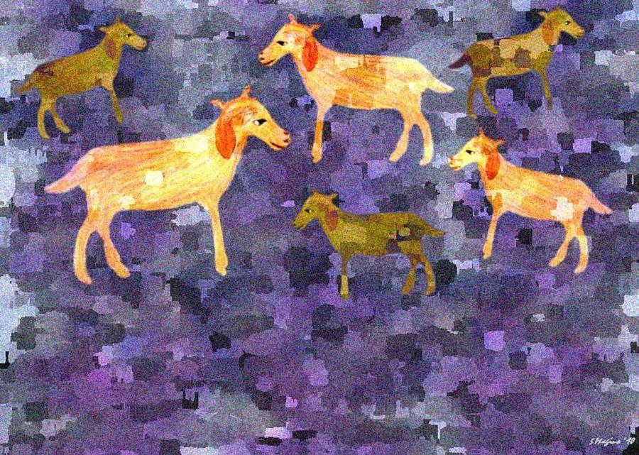 Goats In The Field Digital Art by Sher Magins