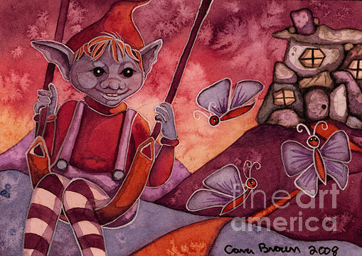 Goblin Painting - Goblin Hill Aceo by Cara Brown