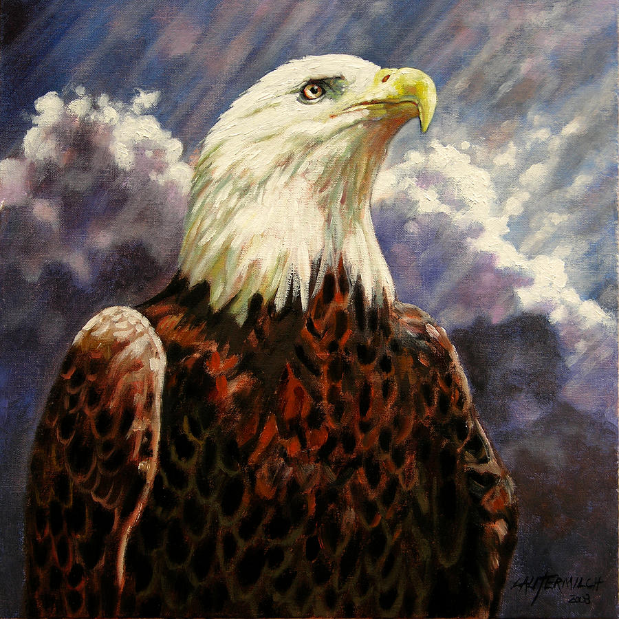 American Bald Eagle Painting - God Bless America by John Lautermilch