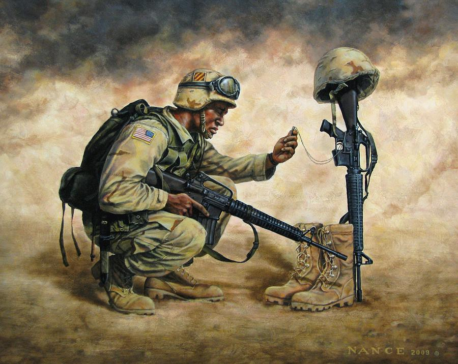 Iraq Painting - God Bless Our Troops by Dan  Nance