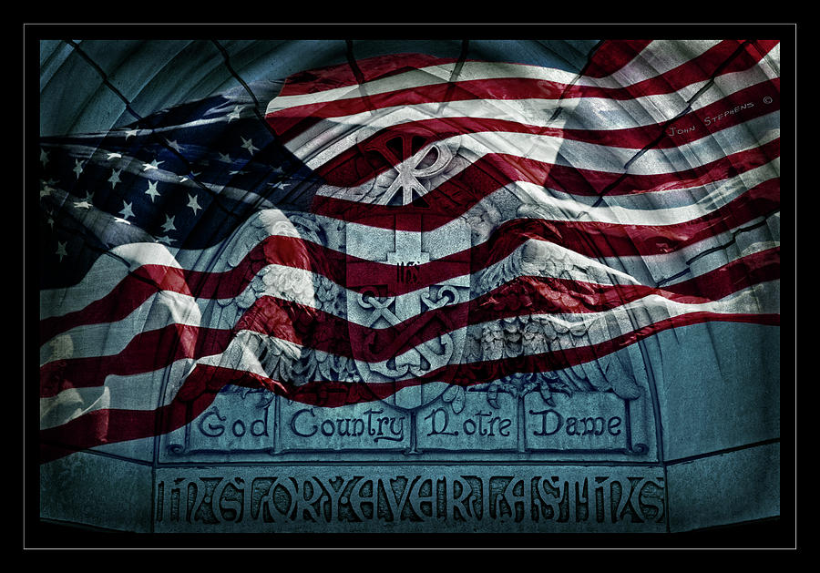 God Country Notre Dame American Flag Photograph