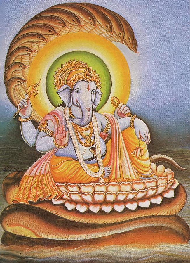 God Ganesha, Ganapati, Gajanan, Vinayak, Miniature Painting Of India ...