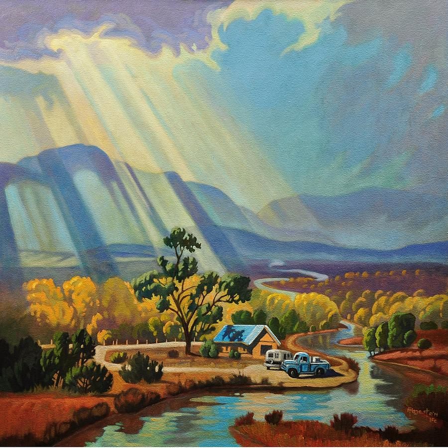 God Rays on a Blue Roof by Art West