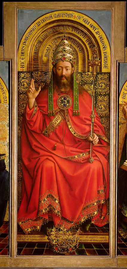 God Painting - God The Father by Hubert and Jan Van Eyck