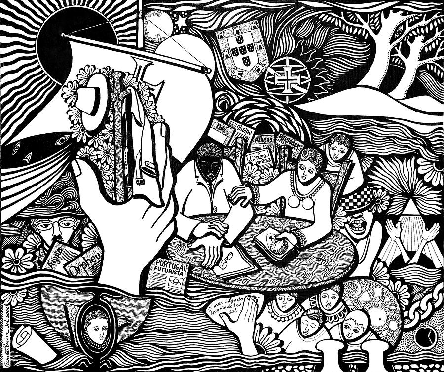 China Ink Drawing - God wills man dreams the work is born by Jose Alberto Gomes Pereira