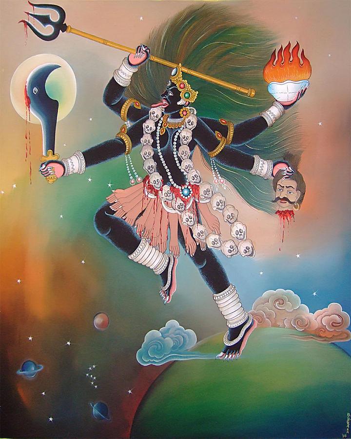 Landscape Painting - Goddes Kali by Bishan Singh Rana