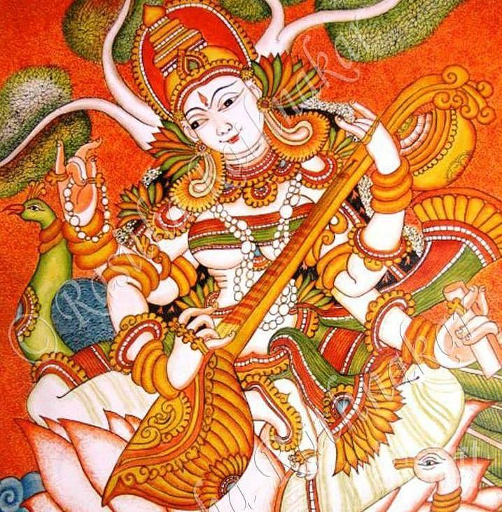 Goddes saraswathi devi painting by rasitha ratnakar for Mural art designs