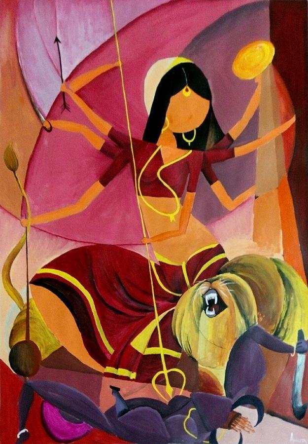 Goddess Durga Painting - Goddess Durga by Amrita M