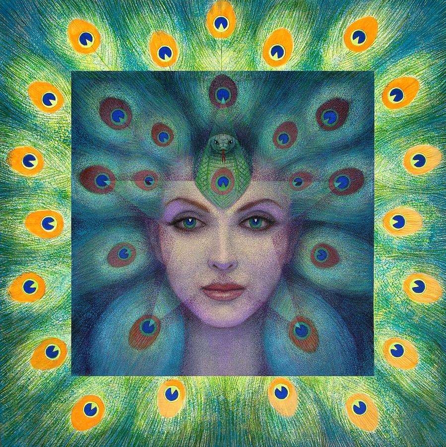 Peacock Lady Painting - Goddess Isis Visions by Sue Halstenberg