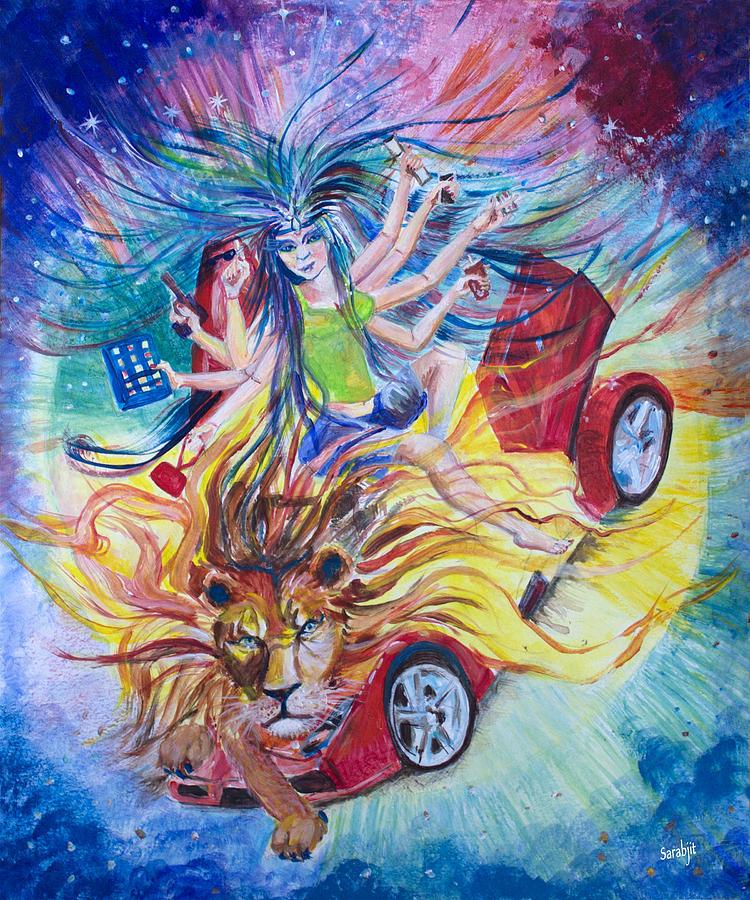 Durga Painting - Goddess Of 21st C by Sarabjit Singh