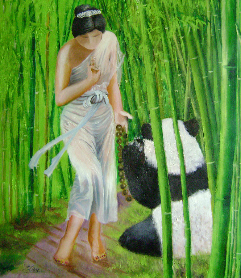 Legend Painting - Goddess Of Mercy And Panda by Lian Zhen