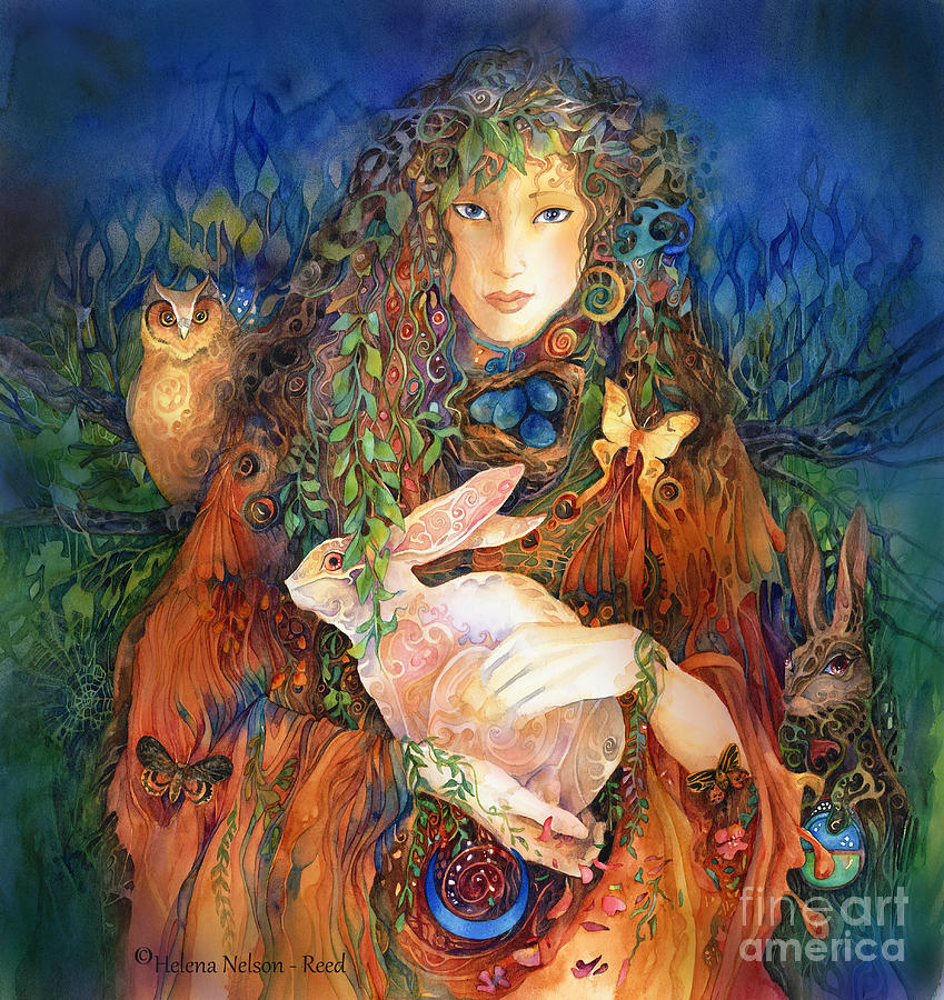 Goddess Painting - Goddess Ostara by Helena Nelson - Reed