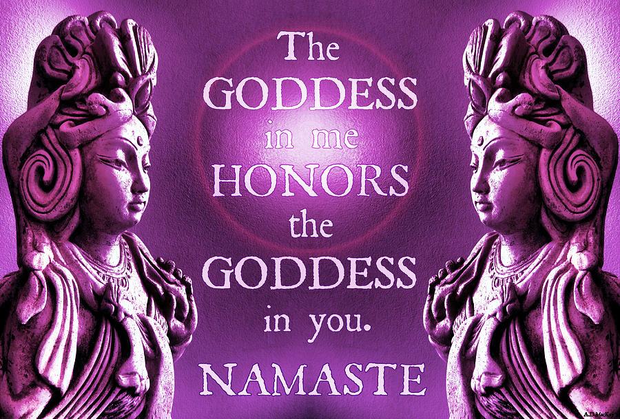 Goddess Digital Art - Goddess Yoga Namaste in Pink by Celtic Artist Angela Dawn MacKay