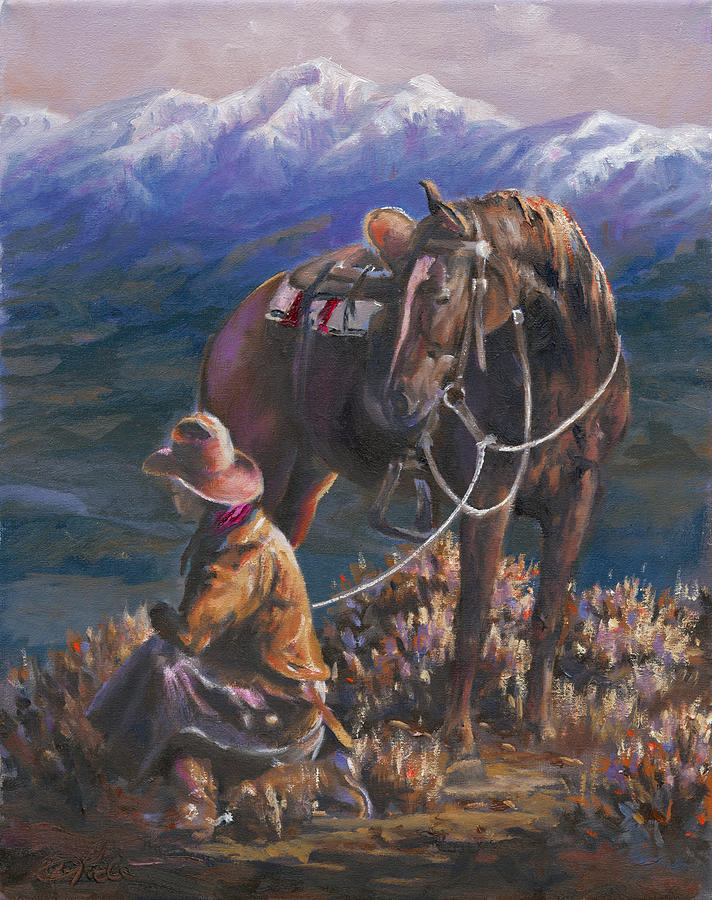 Cowboys Painting - Gods Country by Mia DeLode