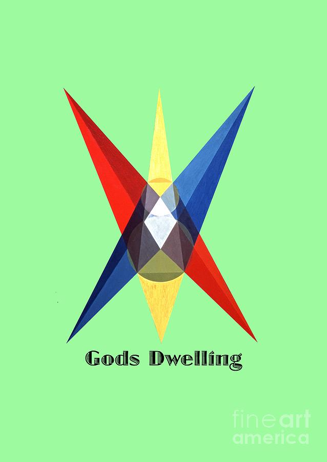 Tarot Painting - Gods Dwelling text by Michael Bellon