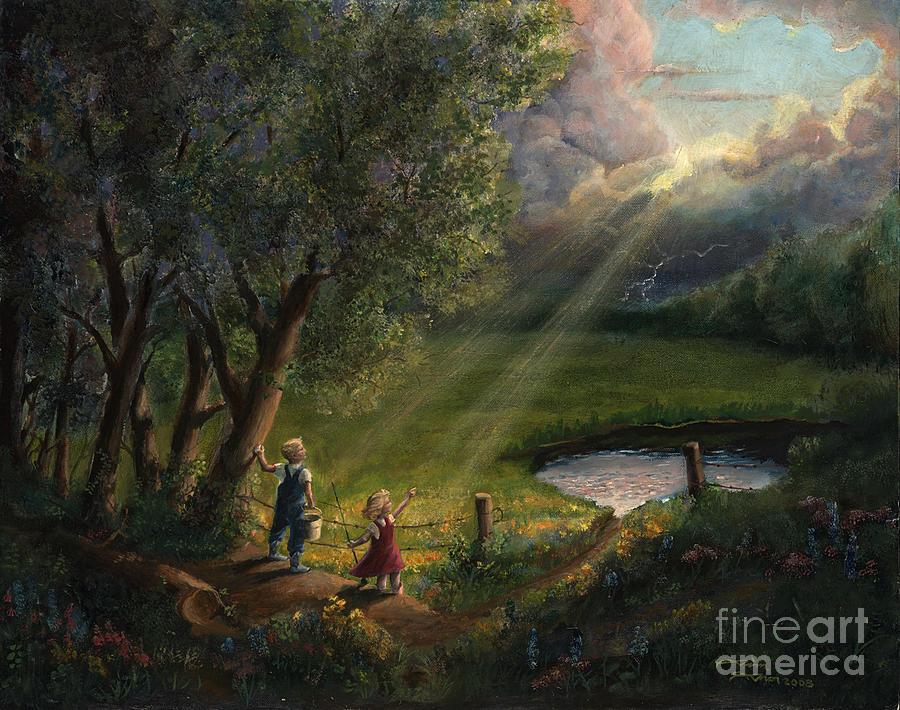 Landscape Painting - Gods Light by Timothy Tron